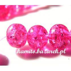 Koraliki crackle różowe,10 mm,10szt