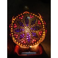 Lampa z tykwy naturalna Afryka   Dzwonki, cymbałki, trójkąty