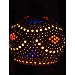 Naturalna Lampa z tykwy kolorowo ozdobiona wykonana recznie  Dzwonki, cymbałki, trójkąty