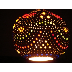 Naturalna Lampa z tykwy kolorowo ozdobiona wykonana recznie  Naszyjniki