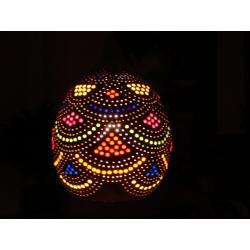 Naturalna Lampa z tykwy kolorowo ozdobiona wykonana recznie  Chusty i apaszki