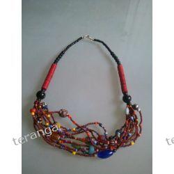 Naszyjnik  kolorowe koraliki czerwień brąz Dzwonki, cymbałki, trójkąty
