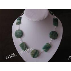 Naszyjnik - zielony agat, koła, prostokąt,srebro