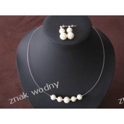 Biżuteria Ślubna naszyjnik z kolczykami perły srebro ecru