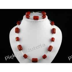 Naszyjnik i bransoletka-czerwony koral walec srebr