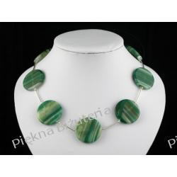 Naszyjnik - agat zielony duży i srebro