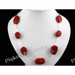 Naszyjnik - czerwony koral bambus owal i srebro