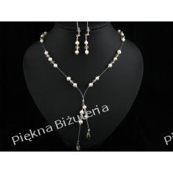Biżuteria Ślubna - perły kryształy Swarovski srebro ecru