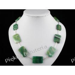 Naszyjnik - zielony agat prostokąty i srebro