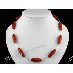 Naszyjnik - czerwony koral oliwka i srebro