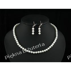 Biżuteria Ślubna - perły gniecione białe i srebro