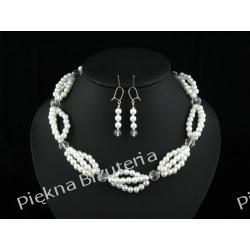 Biżuteria Ślubna naszyjnik kolczyki perły kryształ srebro