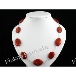 Naszyjnik - czerwony koral owal srebro piękny