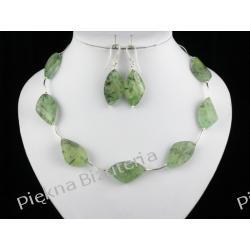 Naszyjnik i kolczyki - frenit zielony i srebro