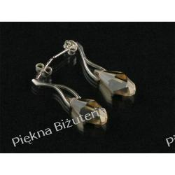Kolczyki Swarovski - kryształ GOLD 16mm srebro