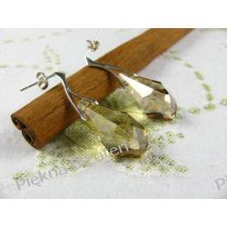 Kolczyki Swarovski - kryształ 21mm POLYGON GOLD srebro