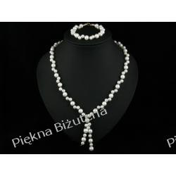 Biżuteria Ślubna - plecione perły srebro biały piękny