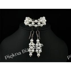 Biżuteria Ślubna Bransoletka i kolczyki perły srebro