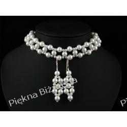 Biżuteria Ślubna Naszyjnik + kolczyki kolia perły srebro biały