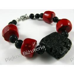Bransoletka - czerwony koral oponka i lawa czarna