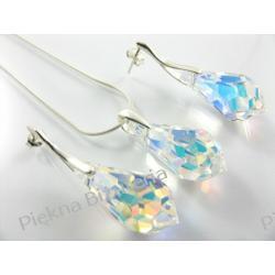 Biżuteria Swarovski krople crystal AB 22mm z łańcuszkiem i pudełkiem - idealny prezent