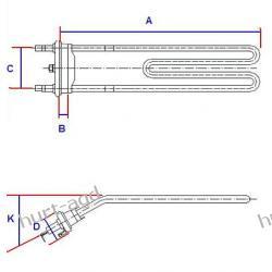 Grzałka pralki Whirlpool 1850W z termistorem AWG 1036