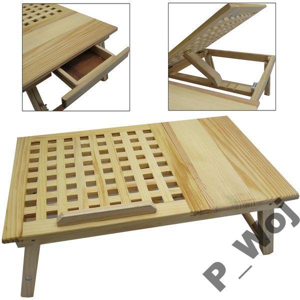 Stolik Do Laptopa Drewniany Z Szufladką Na Bazarekpl