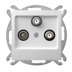 Ospel Impresja Gniazdo RTV-SAT z dwoma wyjściami SAT biały GPA-Y2S/m/00