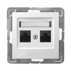 Ospel Impresja Gniazdo komputerowe podwójne RJ45 kat.5e KRONE biały GPK-2Y/K/m/00