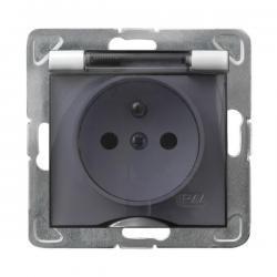 Ospel Impresja Gniazdo bryzgoszczelne z uziemieniem IP-44 ecru GPH-1YZ/m/27/d