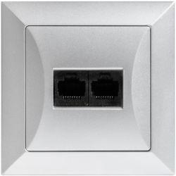Timex Opal Gniazdo komputerowe podwójne 2xRJ45 srebrny