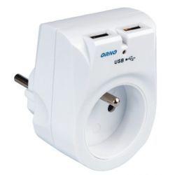 Orno Ładowarka sieciowa USB z gniazdem elektrycznym OR-AE-1305