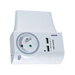 Orno Ładowarka sieciowa USB z gniazdem elektrycznym OR-AE-1323/W