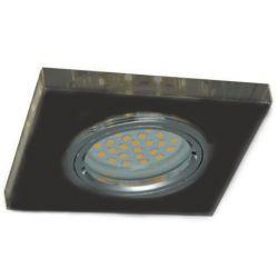 Superled Oprawa oprawka led halogenowa stała szklana kwadratowa czarna z bocznym podświetleniem barwa ciepła 3301