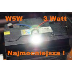 Dioda LED L055 W5W Najmocniejsza 3w BIAŁA t10
