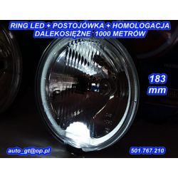 HALOGENY Z RINGIEM LED 183 mm ATEST TIR Bus 4x4